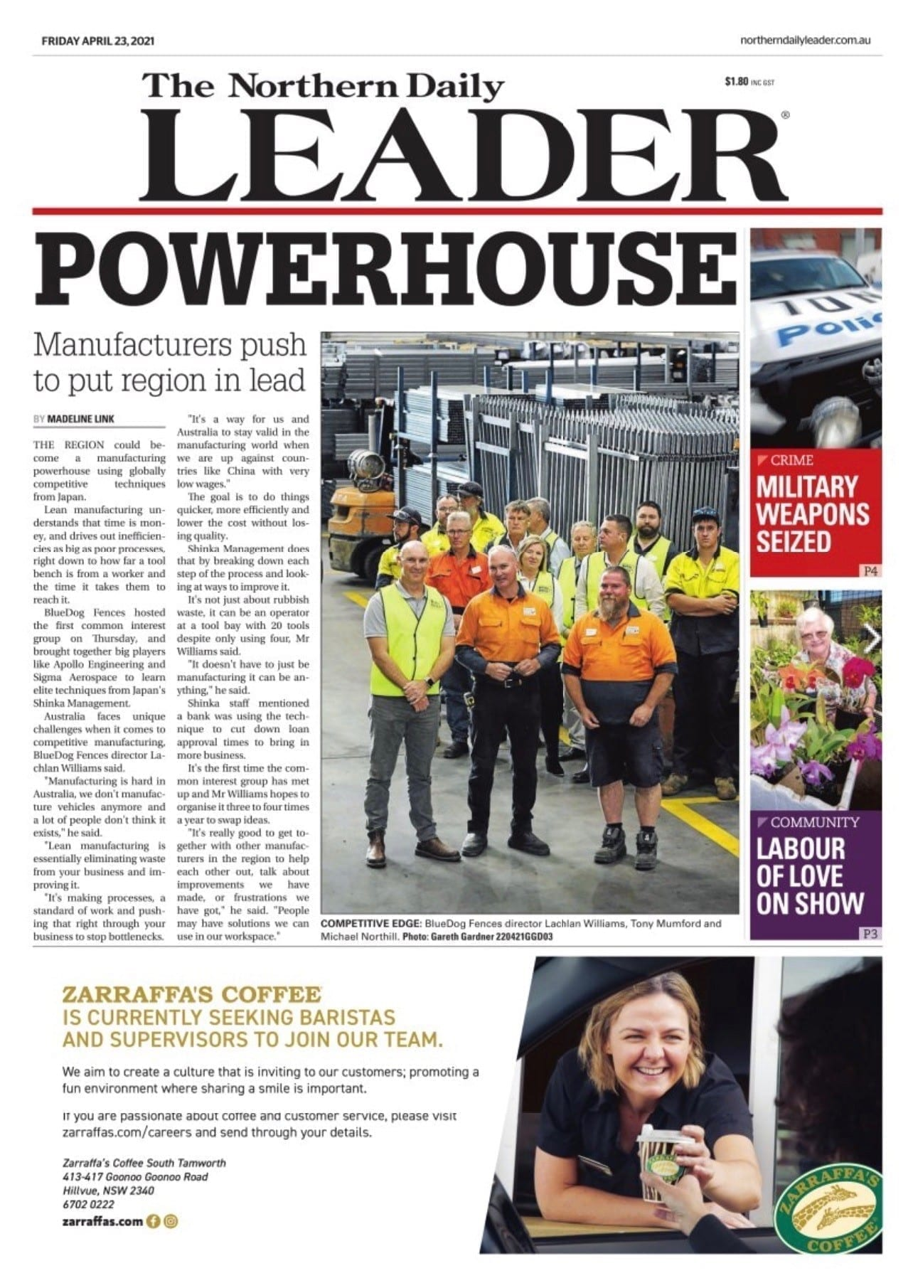 The Northern Daily Leader front page
